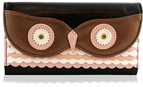 KukuBird Designer 3D Shape OWL Faux Leather Women Ladies Purse/Clutch/Wallet Animal Bags - BLACK