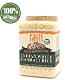 Pride Of India - Extra Long Indian Basmati Rice, Naturally Aged Aromatic Grain, 2.2 Pound (1 Kilo)...