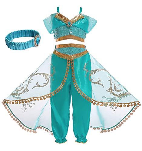 YOSICIL Disfraz Princesa Jasmine niña Disfraz de Princesa árabe Tops y Pantalones Traje de Princesa Jazmín para Halloween Fancy Dress Cosplay Fiesta Carnaval Cumpleaños Regalo100cm-150cm