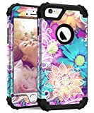 Hocase iPhone 6s Case, iPhone 6 Case, Shockproof Heavy Duty Hard Plastic+Silicone Rubber Bumper Full Body Protective Case with 4.7-inch Display for iPhone 6s, iPhone 6 - Colorful Lace Flowers Design