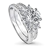 BERRICLE Rhodium Plated Sterling Silver Round Cubic Zirconia CZ 3-Stone Anniversary Wedding Engagement Ring Set 1.9 CTW Size 6.5