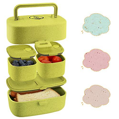 Fiambrera NiñOs 100% Prueba de Fugas, Bento Box NiñOs Fabricada con Paja de Trigo Reciclable, BPA-Free. Lunch Box con Asa Y Compartimentos, Producto Apto Para Lavavajillas, Apto Para Microondas