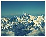 Pintar Por Numeros Adultos Pintura Al Óleo Sobre Lienzo Niños Con Pinceles Y Pigmento Acrílico De 40X50Cm (Marco De Madera) - Cimas Del Cielo De La Montaña Del Everest