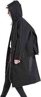 PENGFEI レインコートポンチョ 防水レインジャケットコートレインスーツプラスチック(環境にやさしい素材)ポケットバックパックポジション2色の透明なキャップ2サイズ (色 : 黒, サイズ さいず : L l)