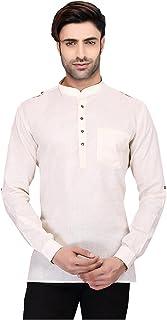 Indian Women Sarees Designer Stylish Mens Regular Daily wear Comfortable and Relaxing Cream Cotton Short Kurta for Men. IC...