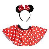 Oblique Unique® Disfraz de ratón para mujer con falda + diadema con orejas de ratón y lazo con lunares en rojo, blanco y negro, para carnaval, fiestas temáticas