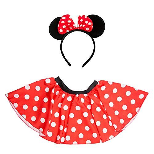 Oblique Unique® Damen Maus Mouse Kostüm mit Rock + Haarreifen mit Maus Ohren und Schleife Gepunktet Rot Weiß Schwarz für Fasching Karneval Motto Party
