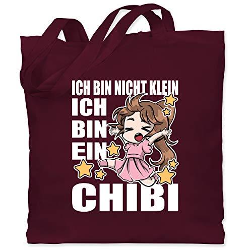 Shirtracer Anime - Ich bin nicht klein ich bin ein Chibi - weiß - Unisize - Bordeauxrot - Ich bin nicht klein ich bin ein chibi - WM101 - Stoffbeutel aus Baumwolle Jutebeutel lange Henkel