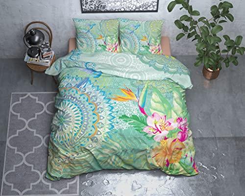 SLEEP TIME Biancheria da letto 100% cotone, colori estivi, Nanda, 240 x 220 cm, con 2 federe 60 x 70 cm, multicolore