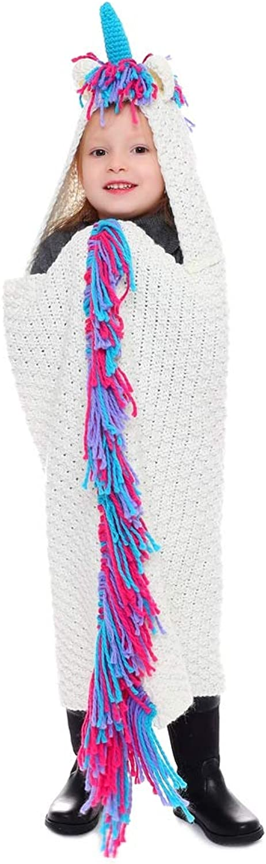 BAIMORE Unicorn Crochet Blanket Hooded Blanket for Girls Boys Wearable All Season Blanket, Rainbow Unicorn Design