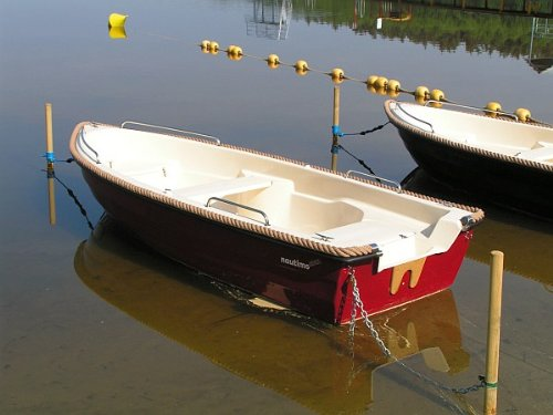 Nautimo 390 Ruderboot Bordeauxrot/Beige mit Polster, Tauwieling und Reling