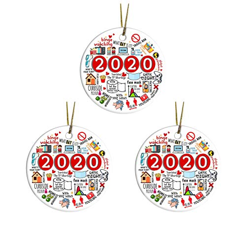 N/Q 2020 Christmas Tree Ornament,Remembering Ornament Year of Quarantine Ornament 2020 Christmas Ornament (A, 3PC)
