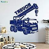 Einzigartiger Name Kran Wandtattoo Schlafzimmer Arbeit Traktor Kinder Kinderzimmer Junge Zimmer Vinyl Wandbild 56x61cm