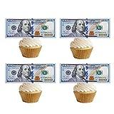 GEORLD 20 Precut 100 Dollar Bill Edible Money Image Wafer Paper for Cake Topper Cupcake Decorations Precut Edible Fake Money