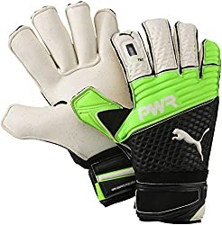 Green, black and white Puma evoPOWER Grip 2.3 GC Goalie gloves