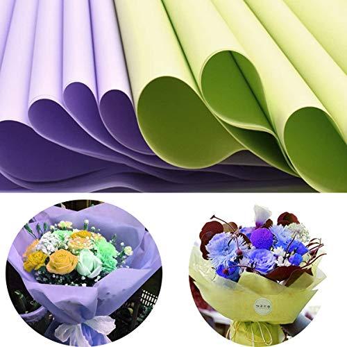Envoltorios de Papel de Seda,Yueser 40 hojas Impermeables Papel de Paquetes para Decoración de Festivales Flores Decoración de Bodas(Verde Claro y Morado Claro)