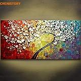 Diy (pintura digital) panel de regalo diy pintado a mano colorido árbol de flores pintado a mano pintura al óleo lienzo sala de estar moderna tablero de dibujo cuchillo pintura 40x80cm DIY Sin marco