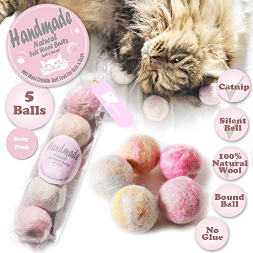 BALLMIE Felt Wool Cat Toys Ball with Catnip and Bell, Natural Handmade (Baby Pink (5 Units))
