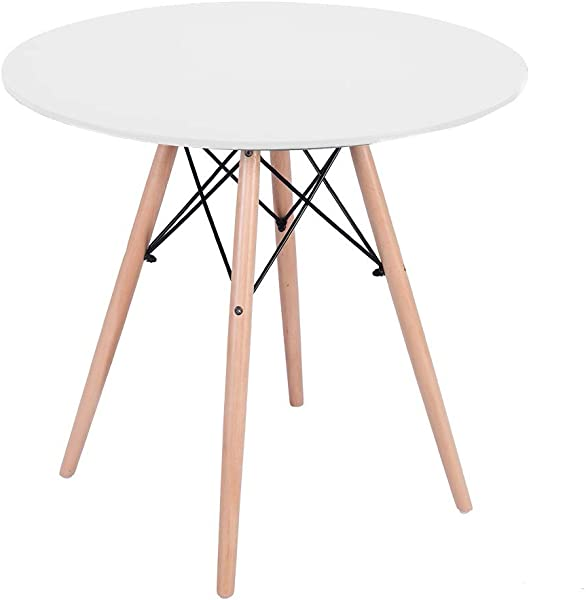 Ama Store Kitchen Dining Table Round Coffee Table Modern Leisure Wooden Tea Table Office Conference Pedestal Desk Mini Style Tables For Bedroom Playroom Dining Room 31 5x31 5x28 3 Inches White