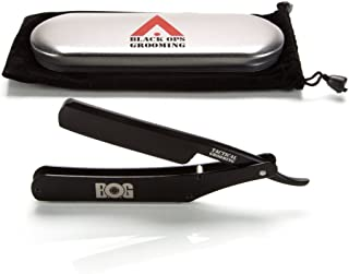 BlackAF Shave Ready Straight Razor in Stainless Steel Scales - By BOG (Black Ops Grooming) - Owned And Operated By Veterans