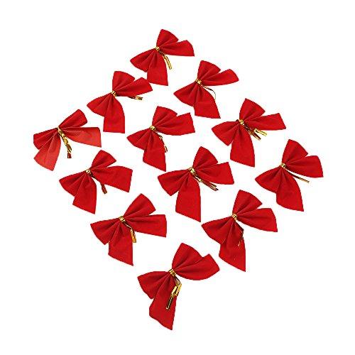 60pezzi rosso Bowknot albero di Natale Decorazioni per la casa Outdoor Bow Tie Tree ciondolo ornamento, Red, 6cm * 5.5cm