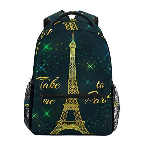 SIONOLY Rucksack,Postkarten Text nehmen Mich Paris Eiffel,Neu Lässige Daypack School Bookbag Verstellbare Umhängetaschen Reiserucksack
