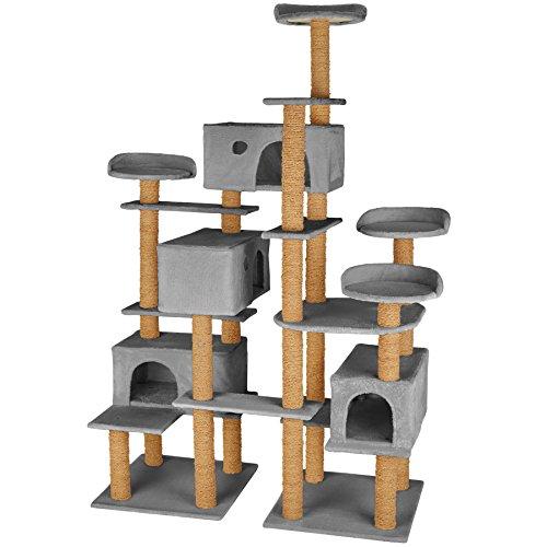 TecTake 800551 XXL Katzen Kratzbaum | Stämme komplett mit Kokosseil umwickelt | 214cm hoch - Diverse Farben (Grau | Nr. 402807)