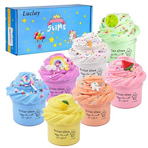 Luclay Butter Schleim Kinder Schleim Kinder Spielzeug Geschenke,7st 100ML Fluffy Schleim zum selber Machen mit 4 Farben Flauschige Schleim Slime, Schaum Bälle, Obst Gesicht Dekoration