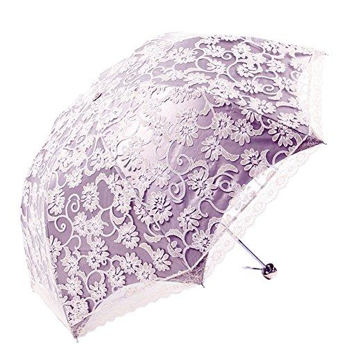 Honeystore Regenschirm, Automatik Spitze Outdoor Taschenschirm Bohème Stil Stabiler Schirm für Damen Violett