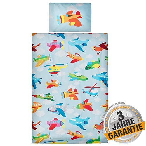 Aminata Kids Kinderbettwäsche 100x135 cm bunten Flugzeugen, Baumwolle mit Reißverschluss - Kinder-Bettwäsche-Set mit Flugzeug-Motiv, Jungen, Mädchen, hell-blau, bunt, weich & kuschelig