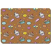 バスマット 玄関マット 足ふきマット,パターンカップケーキクッキー,滑り止め ソフトタッチ 丸洗い 洗濯 台所 脱衣場 キッチン 玄関やわらかマット 40 x 60cm