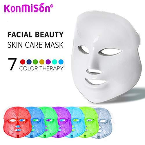 YGTFMASK Máscara Facial Terapia LED, Máscara Tratamiento Belleza 7 Colores,Acné Anti Fotón Portátil Antiarrugas Mascarilla Limpiadora Blanqueadora,para Facial Cuidado Piel Máscara Instrumentos,