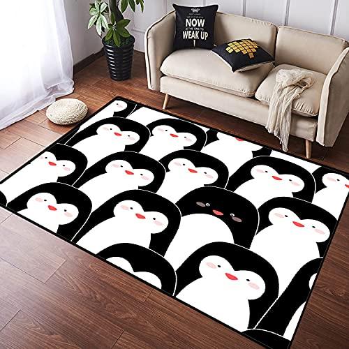 NANITHG Alfombra Salon Grandes Pelo Corto Patrones sin Fisuras con pingüinos Suave...