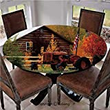 """Elastic Edged Polyester Fitted Table Cover,Rustic Cabin with Rusty Tractor Country Cottage House Seasonal Colors US Flag Loyalty,Fits up 45""""-56"""" Diameter Tables,The Ultimate Protection for Your Table,"""