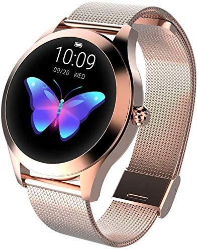 Reloj inteligente deportivo para mujer, IP68, impermeable, monitoreo de ritmo cardíaco, BT Fitness Tracker para Android iOS Fitness Pulsera Smartwatch-RD_Gold