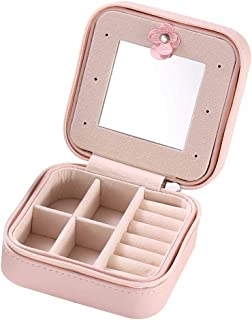Ms.Wenny Jewelry Organizer Box Travel Case - Portable Small Storage Jewelry Boxes Makeup Mirror for Rings Earrings Necklac...