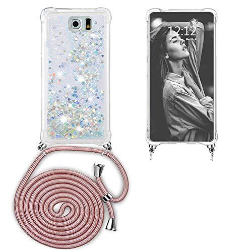 Ptny Case Funda Colgante movil con Cuerda para Colgar Samsung Galaxy S6 Carcasa Correa Transparente de TPU con Cordon para Llevar en el Cuello con Ajustable Collar Cadena Cordón en Oro Rosa