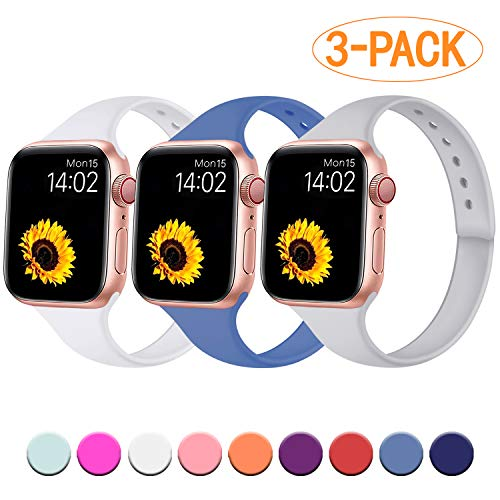 R-fun Slim Bands Compatible with Apple Watch Band 44mm Series 4 42mm Series 3/2/1, 3 Pack Soft Silicone Sport Strap Wristband for Women Men Kids with iWatch, Bluegray/Darkgray/White