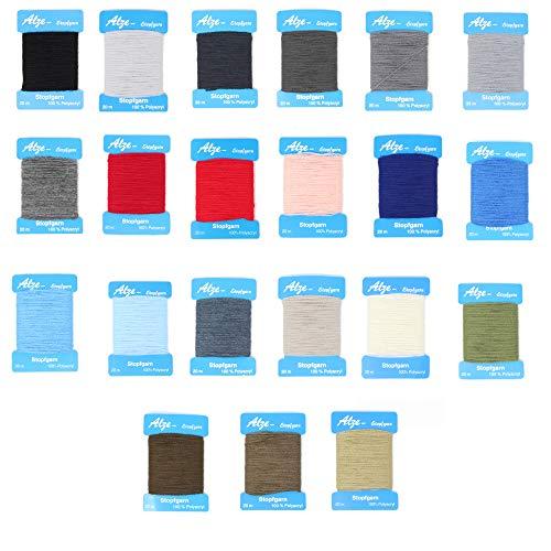 BIG-SAM - Stopfgarn | 20 Meter Wickelkarte | auch als Beilaufgarn verwendbar | viele Farben einzeln erhältlich oder als Farbset (Set mit 22 Farben)