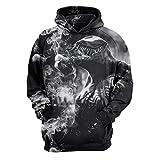 ANCHILMS Unisex 3D Druck Hoodie Langarm Pullover Sweatshirt Monster und weißer Rauch-M