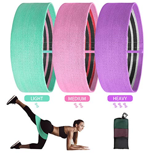 POPCHOSE Resistance Bands Set Non Slip Booty Bands Elastic Exercise Bands Home Workout Bands for Legs and Butt Fitness Bands for Women Hip Circle Bands for Squat Glute Training 3 Pack