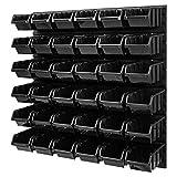Sistema de cajas apilables – 772 x 780 mm – Estante de pared 36 unidades cajas de herramientas – Estantería (Negro)
