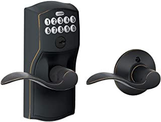 Schlage FE575 CAM 716 Acc Camelot Keypad Entry with Auto-Lock and Accent Levers, Aged Bronze