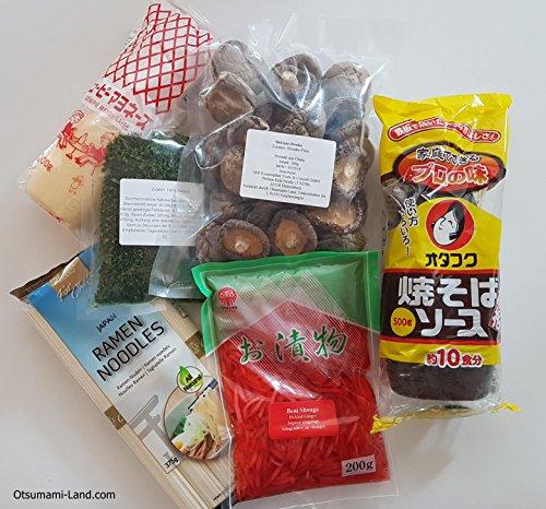 Otsumami-Land.com Yakisoba Zutaten Set Grundzutaten Yakisoba-Soße, japanische Mayonnaise, Ramen-Nudeln, Benishoga, Aonori, Shiitake-Pilze Rezept, Rezeptvorschlag