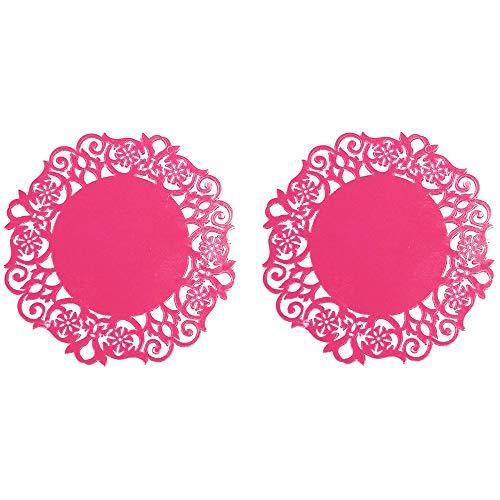 DOLDOA Haushalt Wohnen,2 STÜCK Spitze Blume Deckchen Silikonuntersetzer Tee Tasse Matten Pad Isolierung Tischset (Rosa)