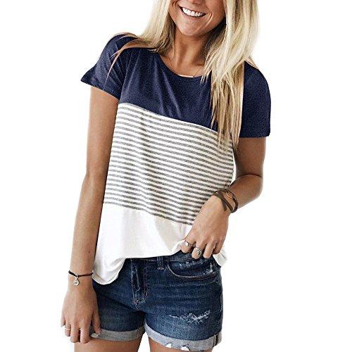YunJey Short Sleeve Round Neck Triple Color Block Stripe T-Shirt Casual Blouse,Navy,Medium
