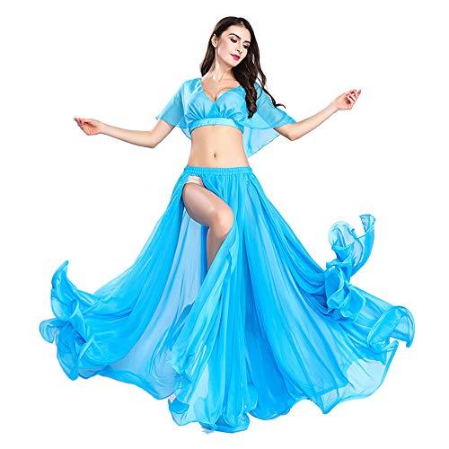 ROYAL SMEELA Gonna Danza del Ventre Top Costume Set Abbigliamento Donna Gonna Swing Grande in Chiffon e Top Attrezzatura Vestito Sexy a Fessura Tuta da Prestazione Taglia Unica