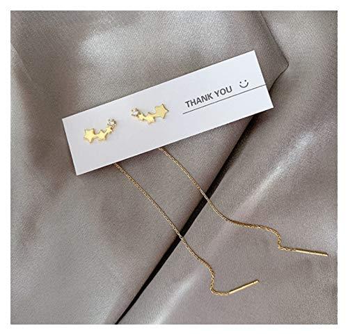 SSN Long Tassel Butterfly Drop Earrings Silver Color Fashion Hanging Women Small Fresh Earrings Jewelry Girls GIfts (Color : Gold)