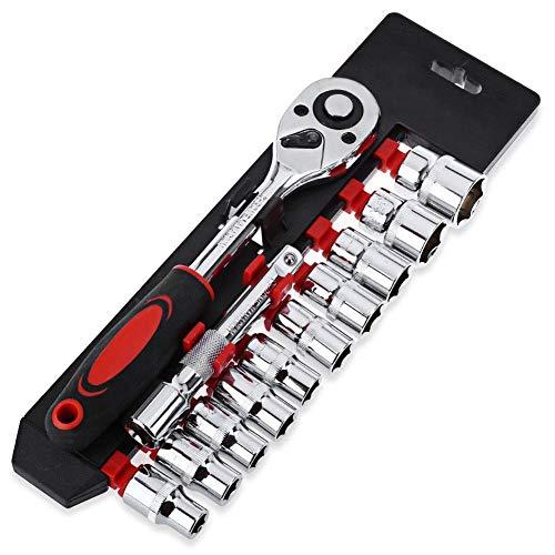 MongKok 12 stuks 1/4 mini dopsleutelset CR-V aandrijving ratel moersleutel voor fiets motorfiets auto