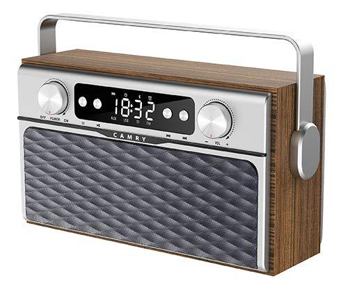 Camry CR 1183 Radiogerät mit Bluetooth 5.0, einfaches Radio mit Uhr, USB-Funktion, SD-Karten-Abspielfunktion, 2600-mAh-Akku, 50 Sender